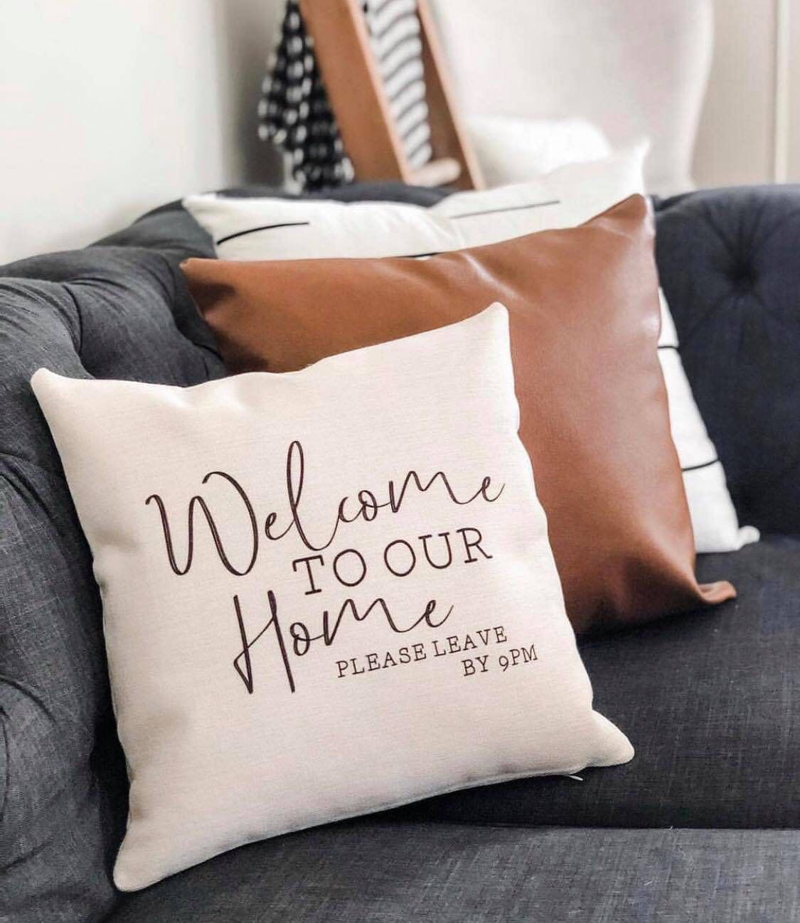 Welcome to our home please leave pillow cover // canvas pillow cover // snarky home decor // funny pillow case