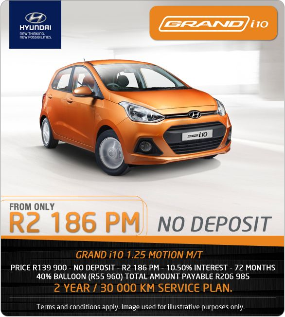 No Deposit Required For A Hyundai Grand I10 1 25 Motion M T From