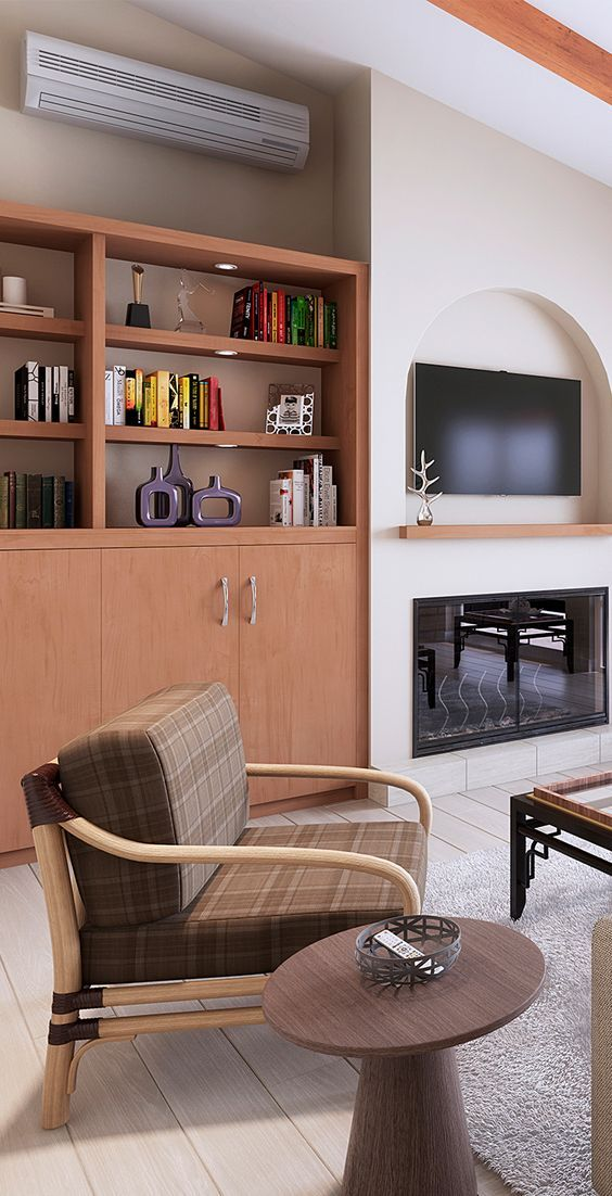 This horizontal tilt wallbed with open shelving fits this