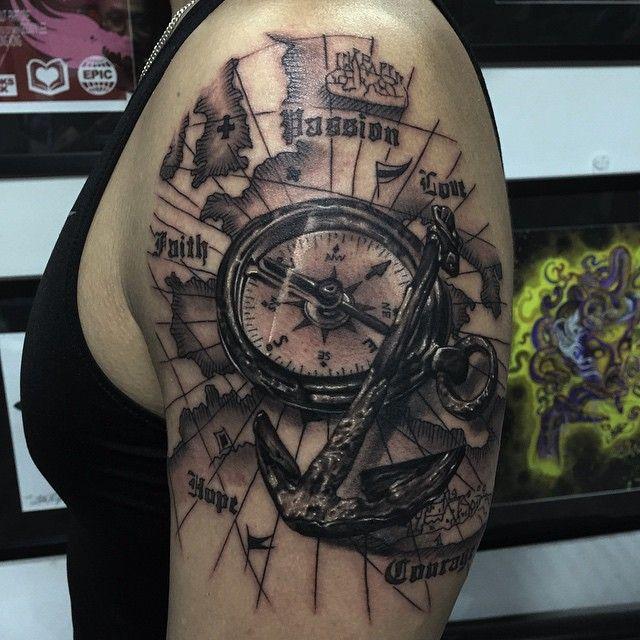compass and anchor tattoos google search tattoos pinterest kompass tattoo vorlagen und. Black Bedroom Furniture Sets. Home Design Ideas