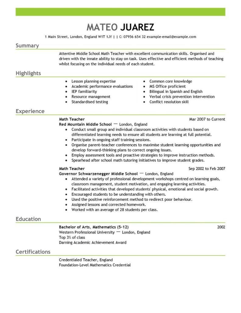 Math Teacher Resume Prepossessing Httpresumecvexampleteacherresume  Resume Cv  Pinterest .