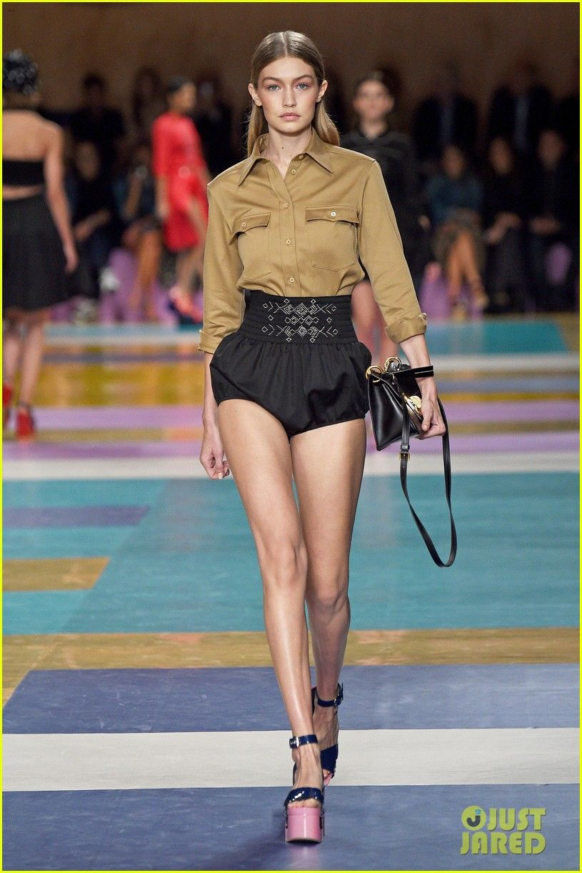 0798825f43e Gigi Hadid Shows Off Killer Legs During Miu Miu Paris Show