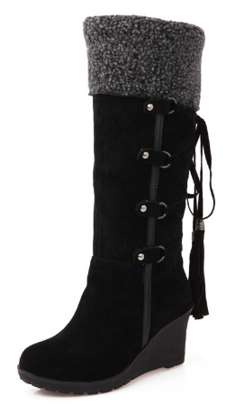 Ladies Round Toe High wedge Heels Platform mid calf pull on Boots Shoes