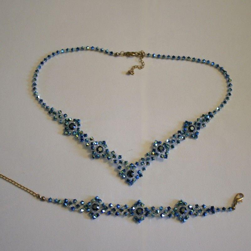 Collier bleu - Création de bijoux en perles swarovski.   Collier ...