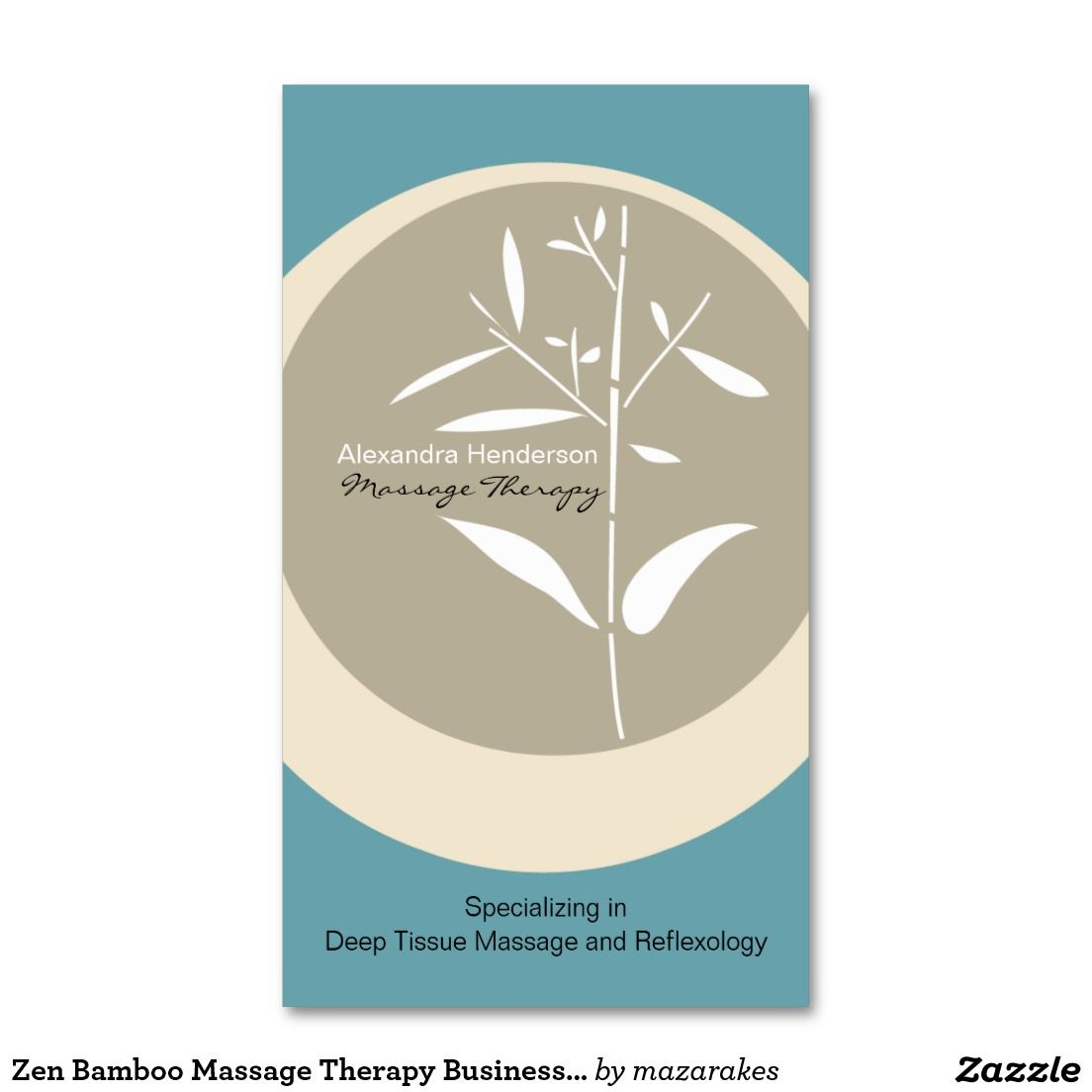 Zen Bamboo Massage Therapy Business Card Blue Business Cards