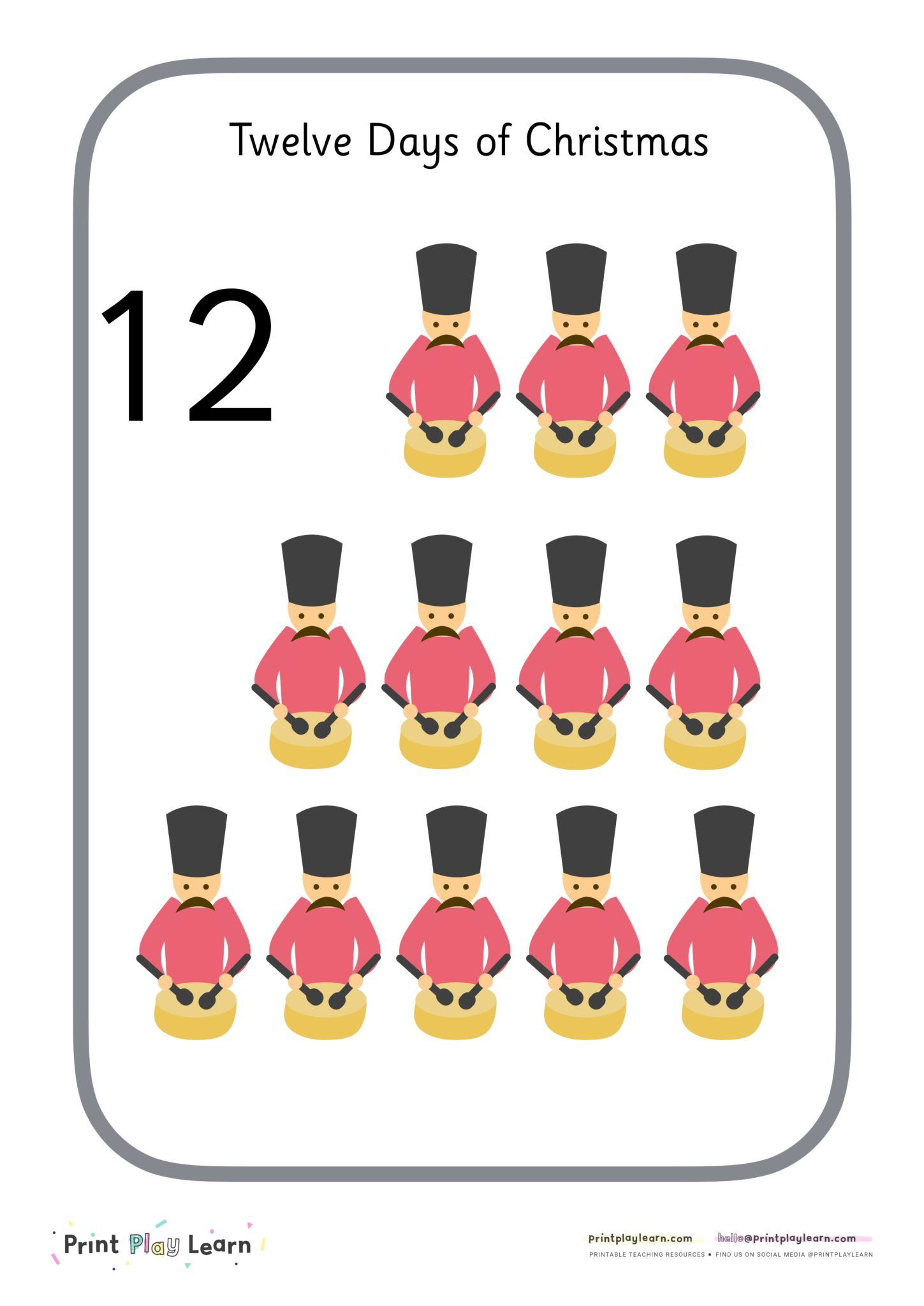 Twelve Days of Christmas Number Posters 112 Lovely set of