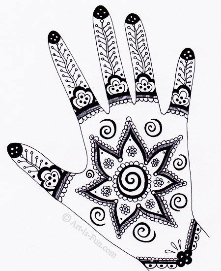 Henna Hand Designs Art Lesson Make A Unique Self Portrait Fun