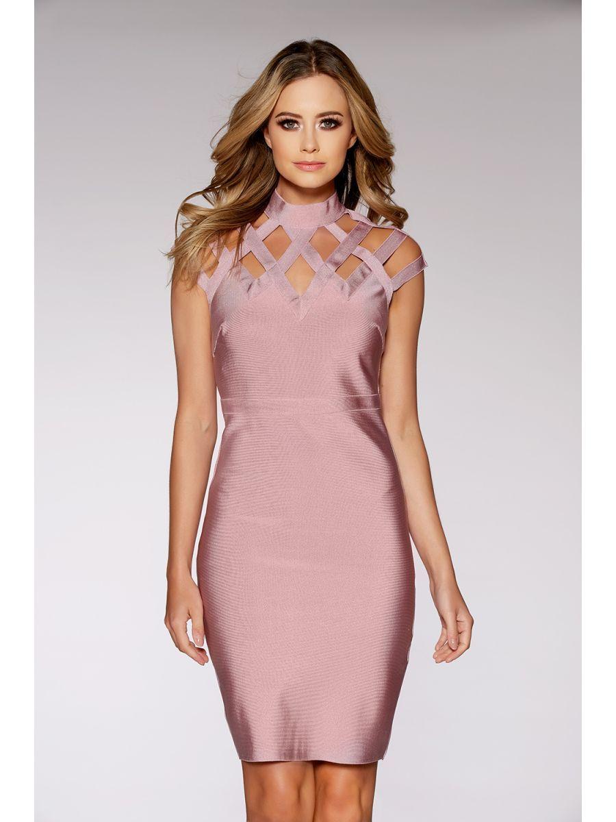 Mauve Cut Out High Neck Bandage Bodycon Dress   date night   Pinterest