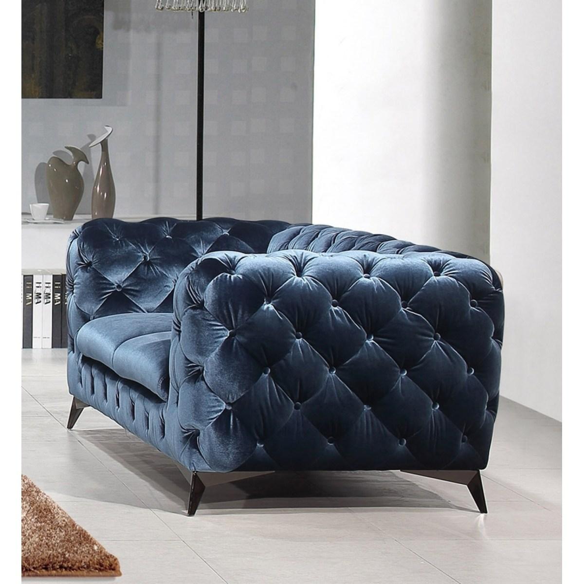 Best Divani Casa Delilah Modern Blue Fabric Loveseat Black 400 x 300
