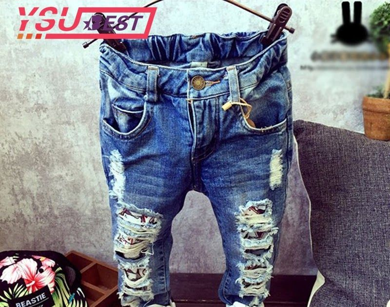3665a5705 Promo Offer New Jeans Kids Children Broken Hole Pants Trousers 2019 ...