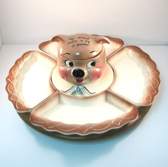 Vintage DeForest California Pottery Piggy Lazy Susan Serving Set By  VintageCreekside, $125.00