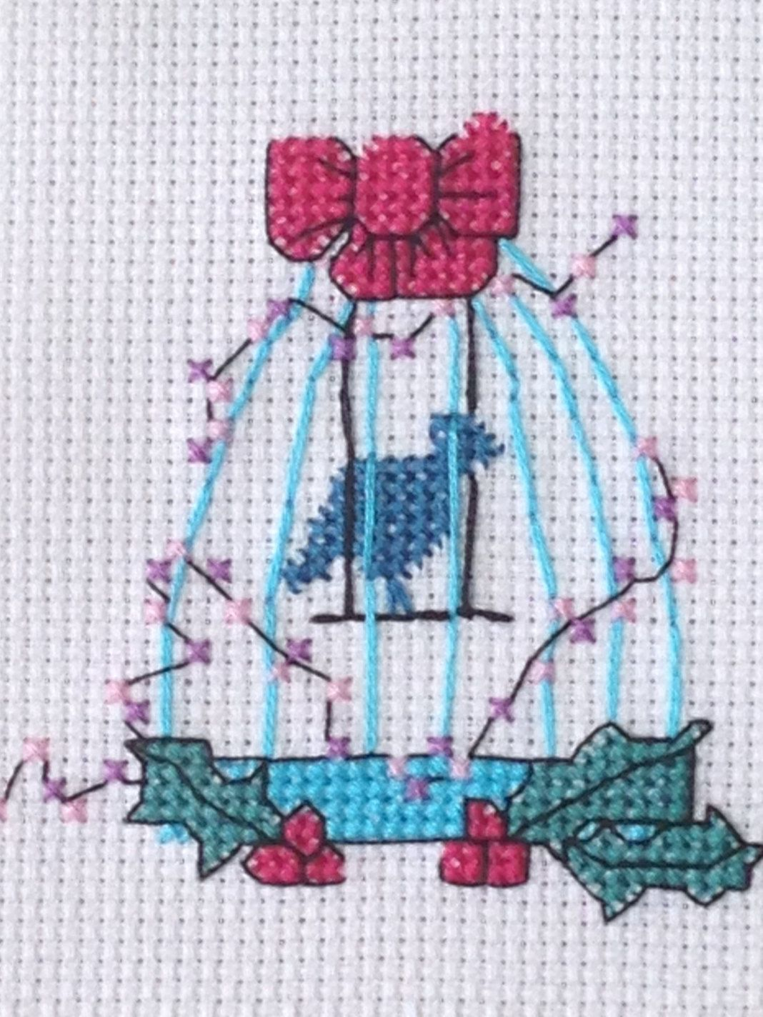 Christmas Bird Cage cross stitch instant download PDF chart by PosieAndMarmalades on Etsy