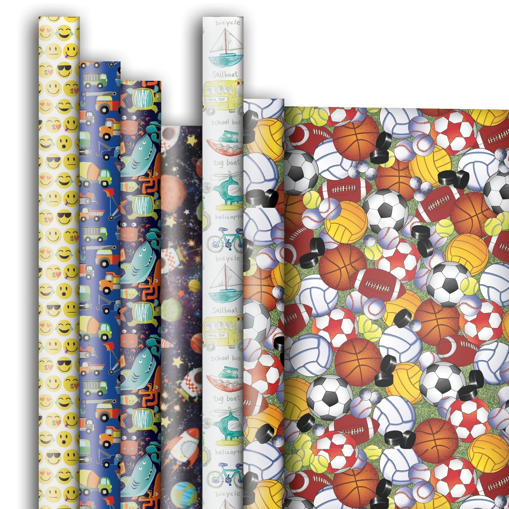 Kids Gift Wrap Wrapping Paper Assortment 6 Rolls 5ft X 30in Gift Wrapping Recycled Paper Gifts For Kids