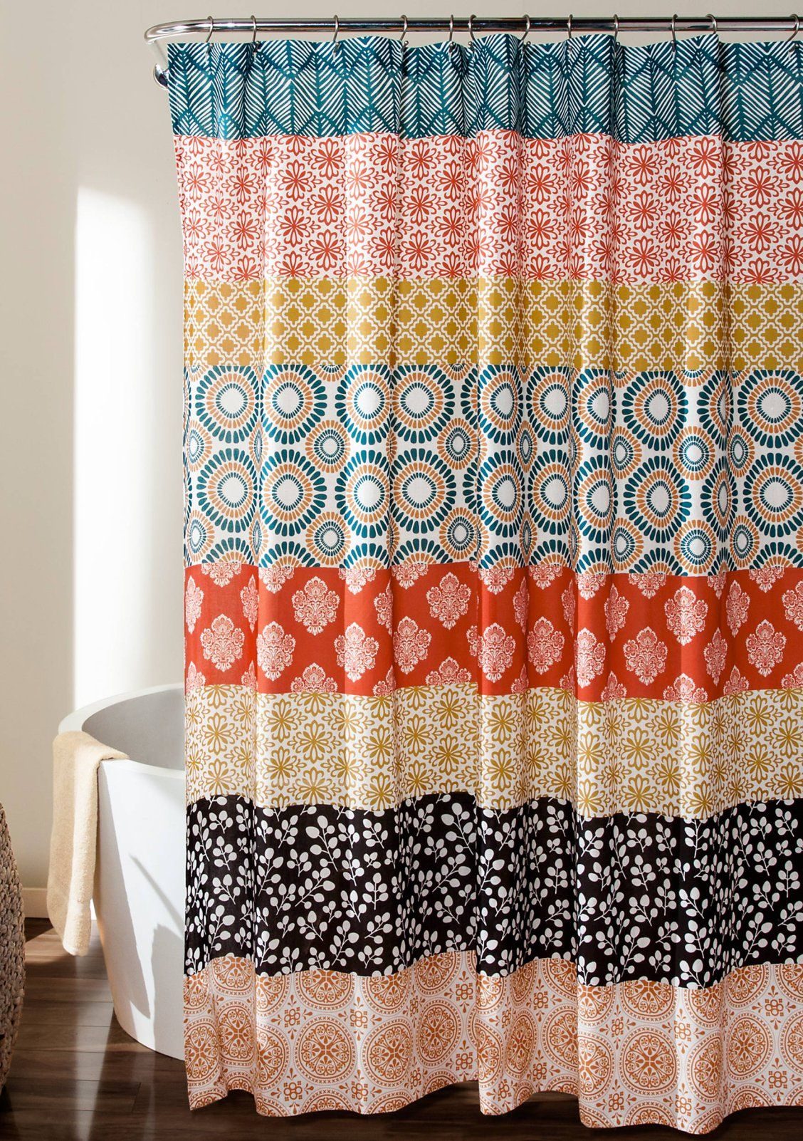 Lush Decor Bohemian Stripe Shower Curtain Turquoise Orange 72 In X
