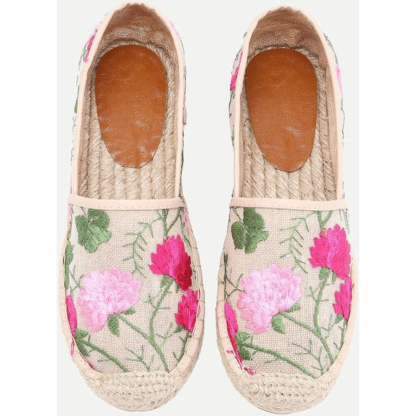 Flower Embroidery Cap Toe Espadrille Flats (205 RON) ❤ liked on Polyvore featuring shoes, flats, flat heel shoes, flat pump shoes, espadrilles shoes, captoe shoes and toecap shoes