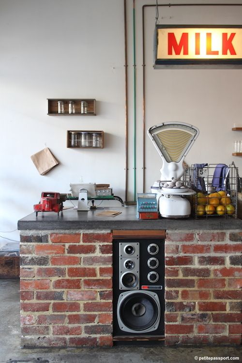 Eclectic, vintage, speaker placement Tomboy Cafe Melbourne by Petite  Passport