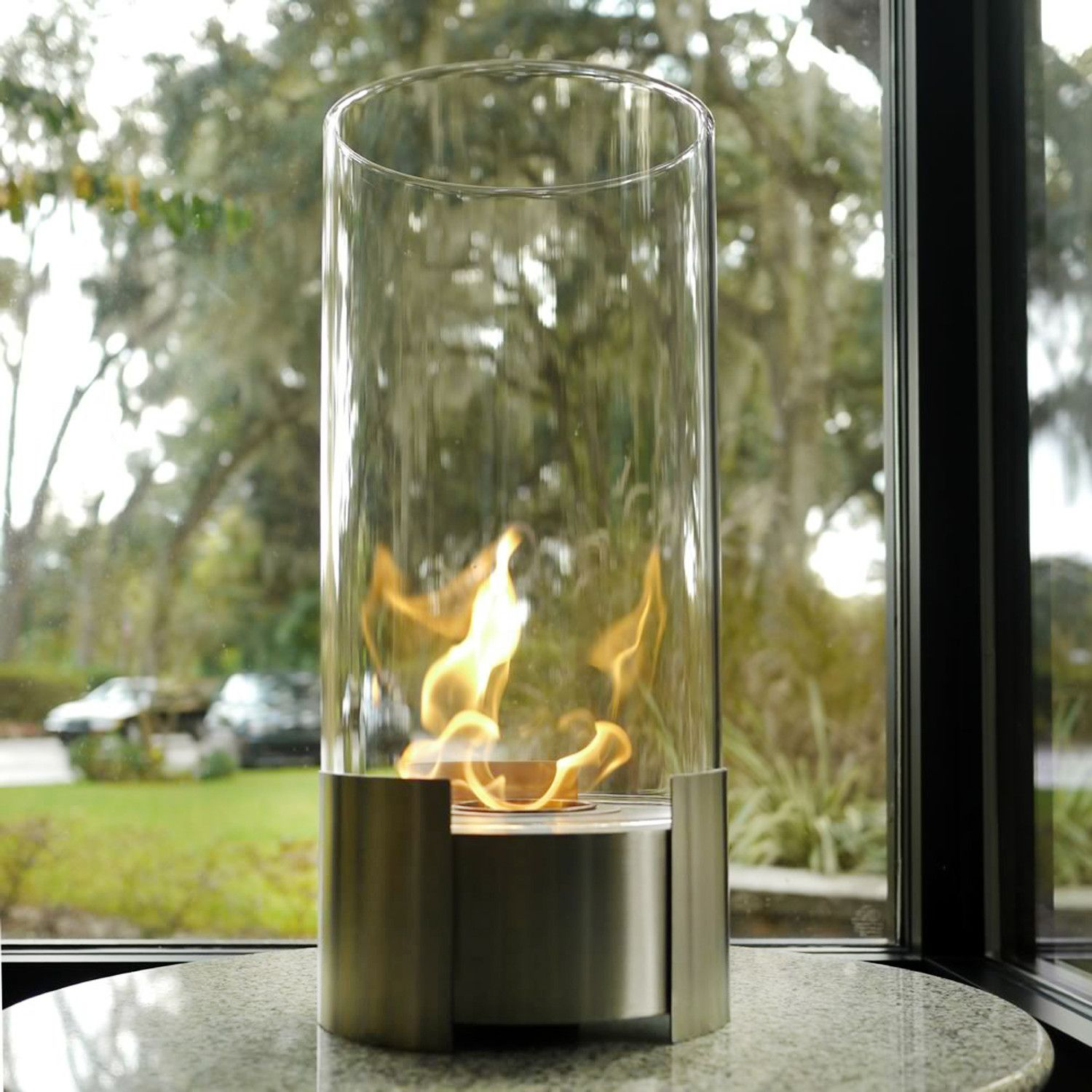 Portable stainless steel fireplace centerpiece.