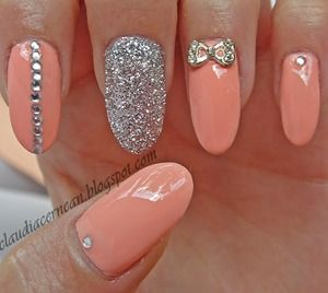 peach nails glitter jewels bows girly manicuresnails done hair doneeverything didfancydone - Nails Design Ideas