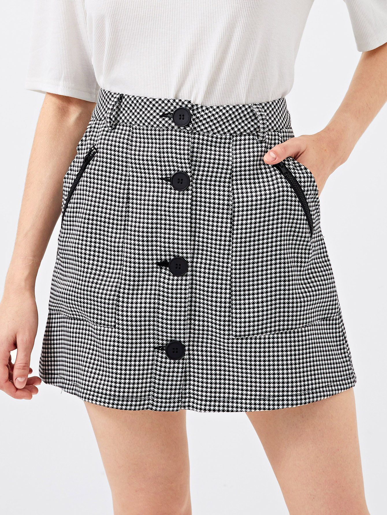 7263b6972 Button Up Houndstooth Skirt en 2019 | ropa | Traje de falda, Ropa y ...