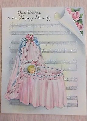 Vintage Hallmark Greeting Card 1950s New Baby Congratulations Bassinet#1950s #baby #bassinet #card #congratulations #greeting #hallmark #vintage