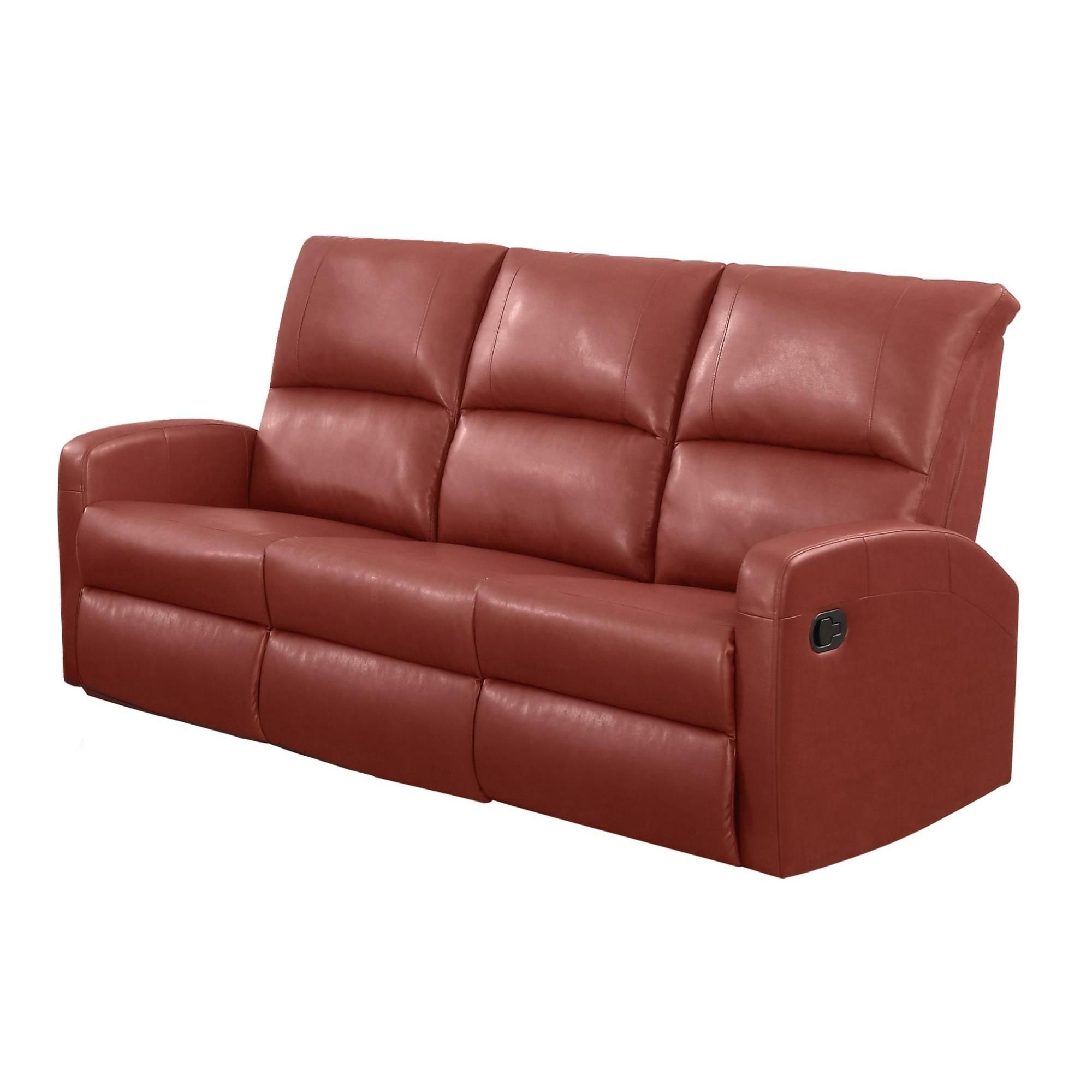 red leather reclining sofa. Monarch Red Bonded Leather Reclining Sofa (Red) D