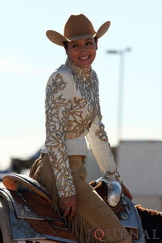 This gold western pleasure outfit is on