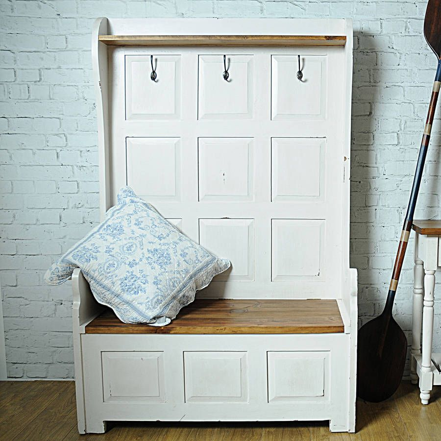 Hallway storage shoes  Painted Wooden Three Seater Storage Bench from notonthehighstreet