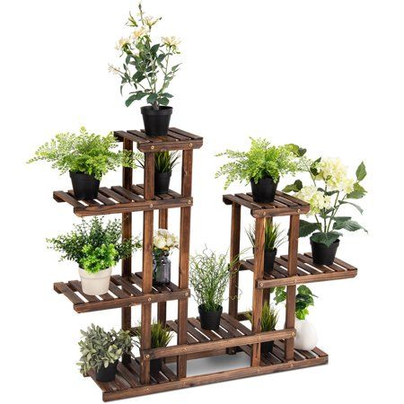 Free Shipping Buy Costway 6Tier 13 Pots Wooden Plant Flower Display Stand Wood Shelf Storage Rack Garden at