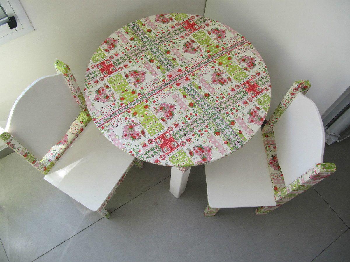Mesa y sillas para ni os en decoupage decoracion cuarto for Sillas para habitacion
