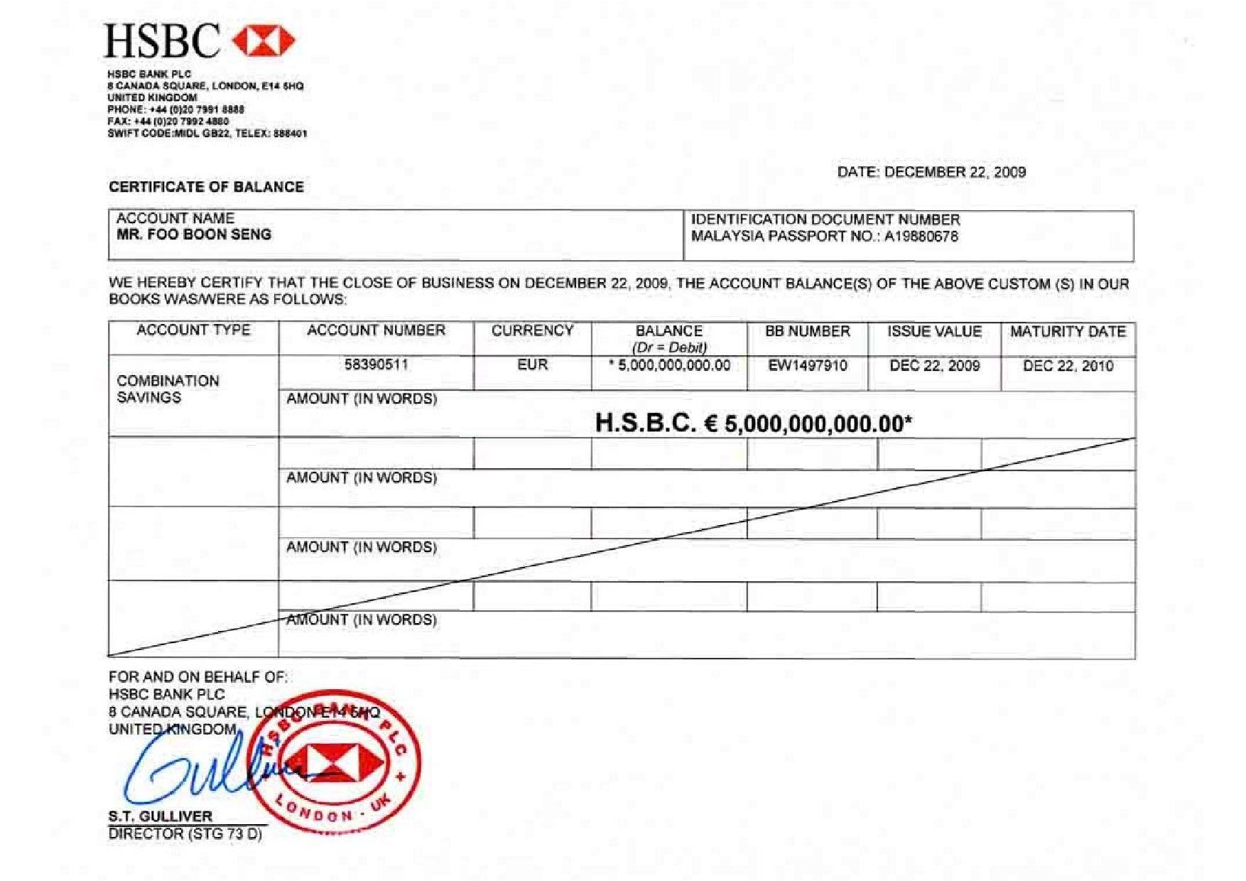letter sample bank account verification certification hsbc