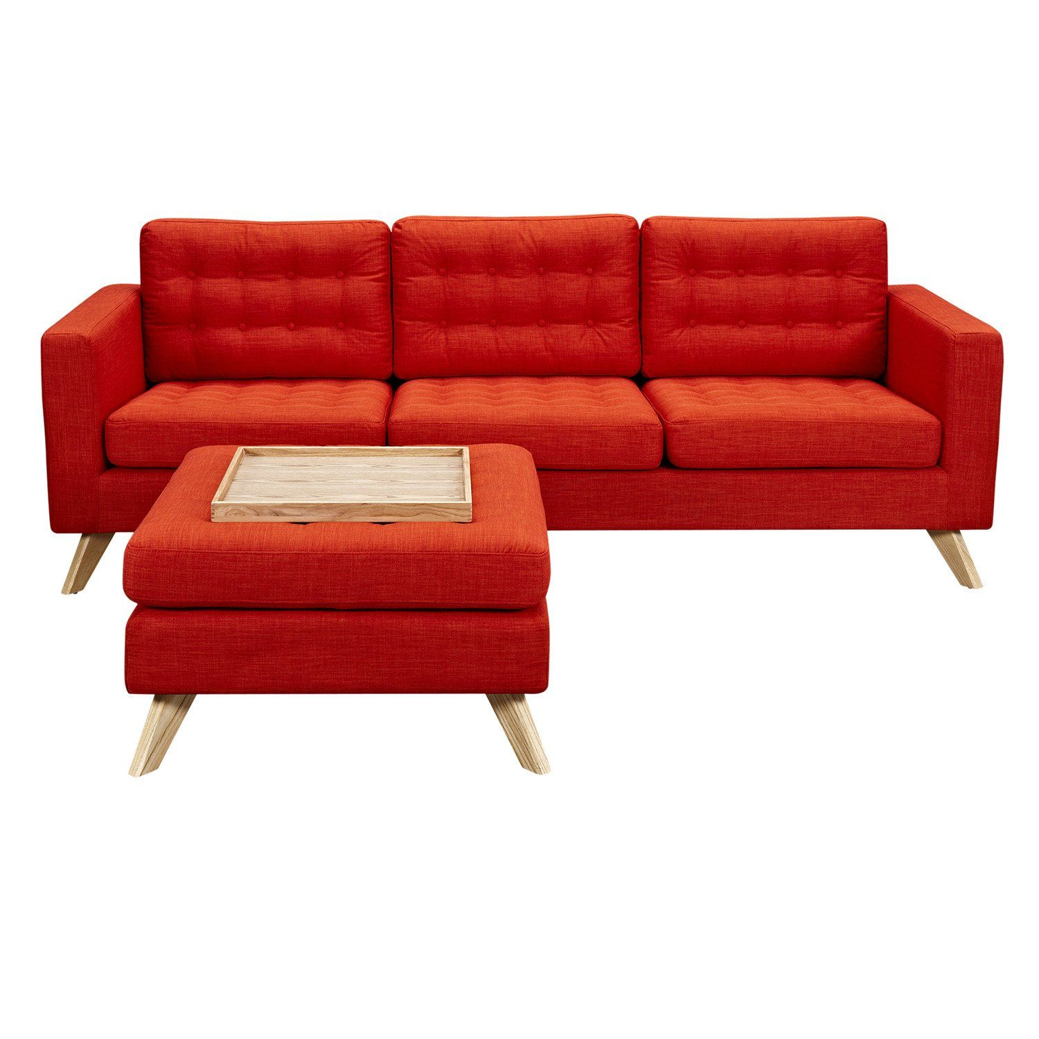 Mina Sofa Retro Orange Set Natural Retro Sofa