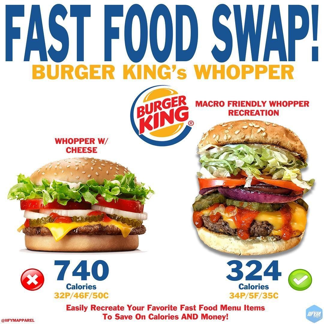 Macrofriendly Burger King Whopper Comparison Fast Food Menu Burger Food Swap