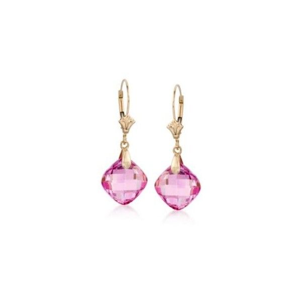 T W Pink Topaz Earrings In 14kt Yellow Gold 1