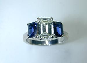 emerald cut diamond engagement rings with sapphire baguettes - Google Search