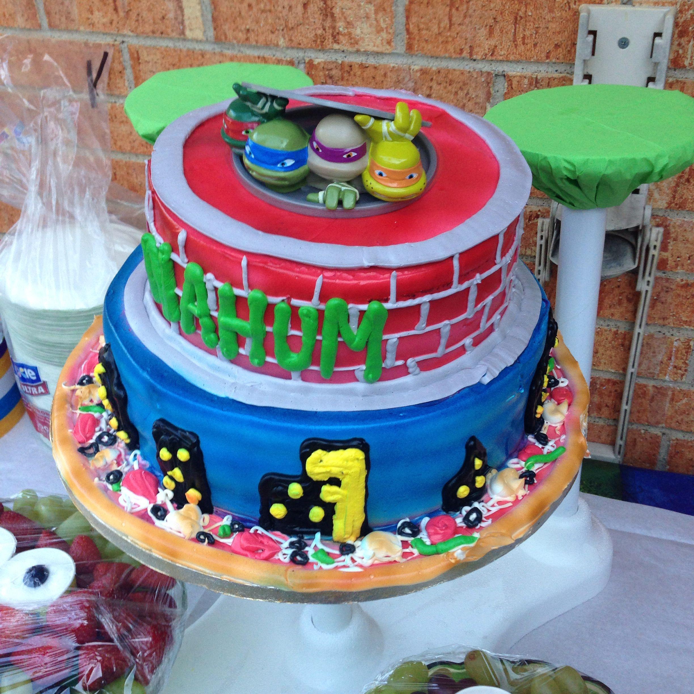 Pastel en dos pisos decorado con las tortugas ninja - Ideas fiesta inauguracion piso ...