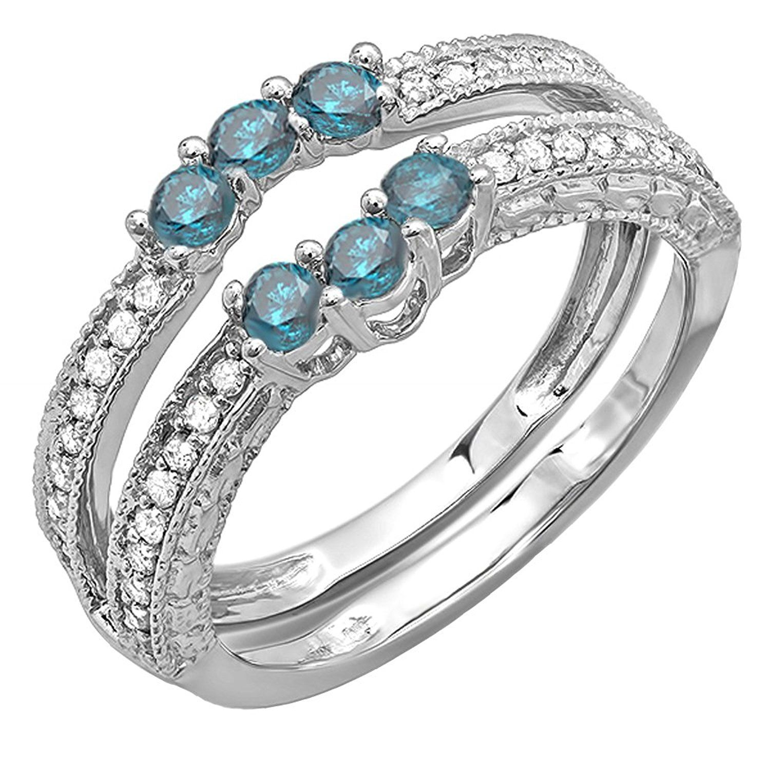 0.60 Carat (ctw) 14k White Gold Round Blue and White