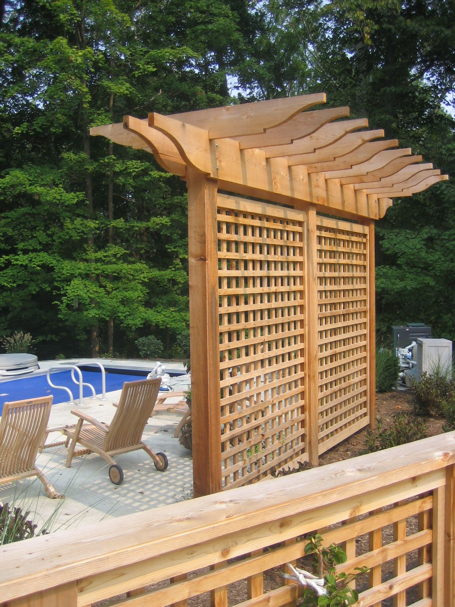 Pergola trellis and evergreens arbours pinterest for Deck trellis