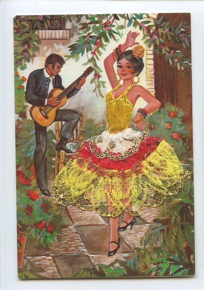 embroidered postcards antique elsi gumier | Vintage Spanish postcard | eBay
