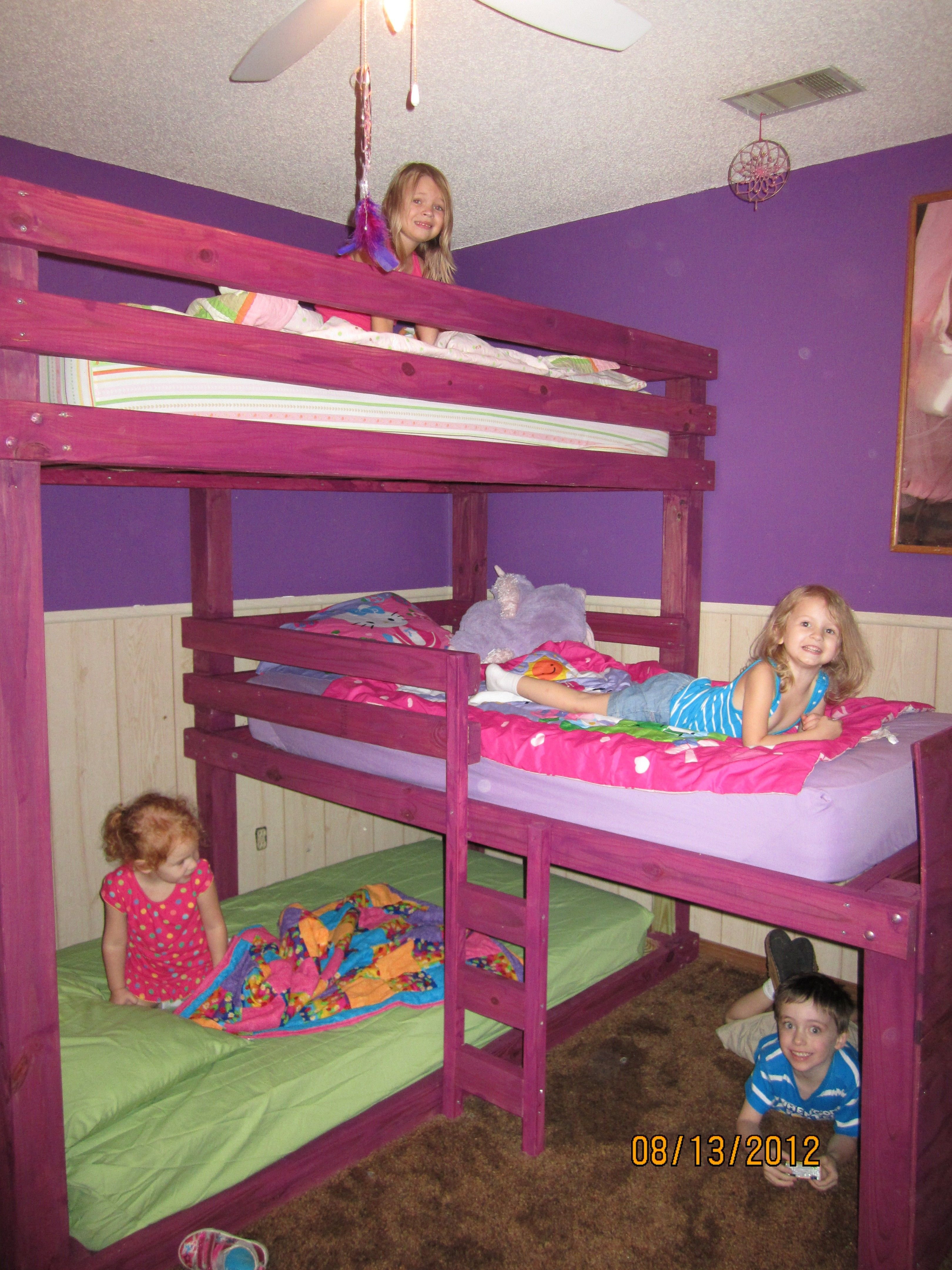 Triple bunk beds we built this weekend no place like for 3 kids beds one room