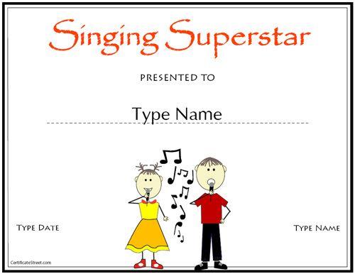 Singer Certificate Template Certificate Of Participation Template Certificate Templates Education Certificate