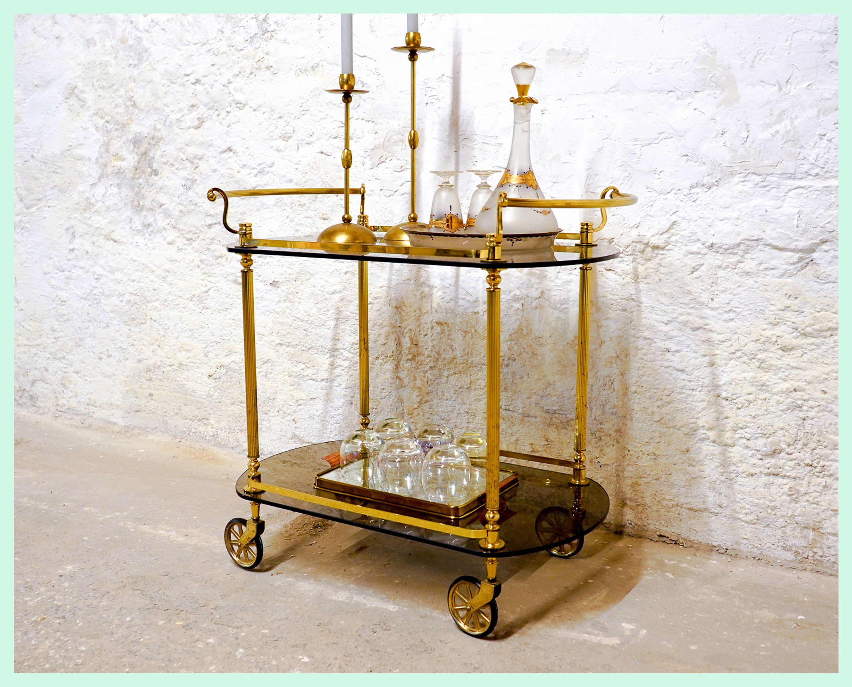 Vintage Hollywood Regency Maison Jansen Servierwagen Teewagen