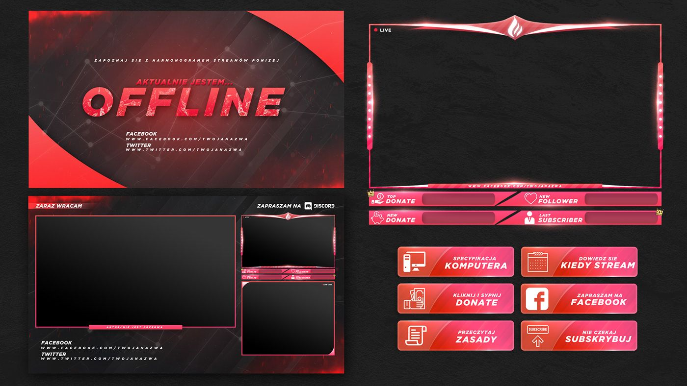 Free Twitch Stream Overlay Template 2018 On Behance Twitch