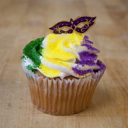 Mardi Gras Jumbo Cupcake with Mask