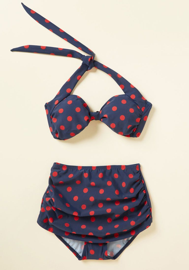 3acf5b22dab5c Beach Blanket Bingo Swimsuit Bottom in Navy Dots in 30 - High Waist by  Esther Williams from ModCloth - Plus Sizes Available