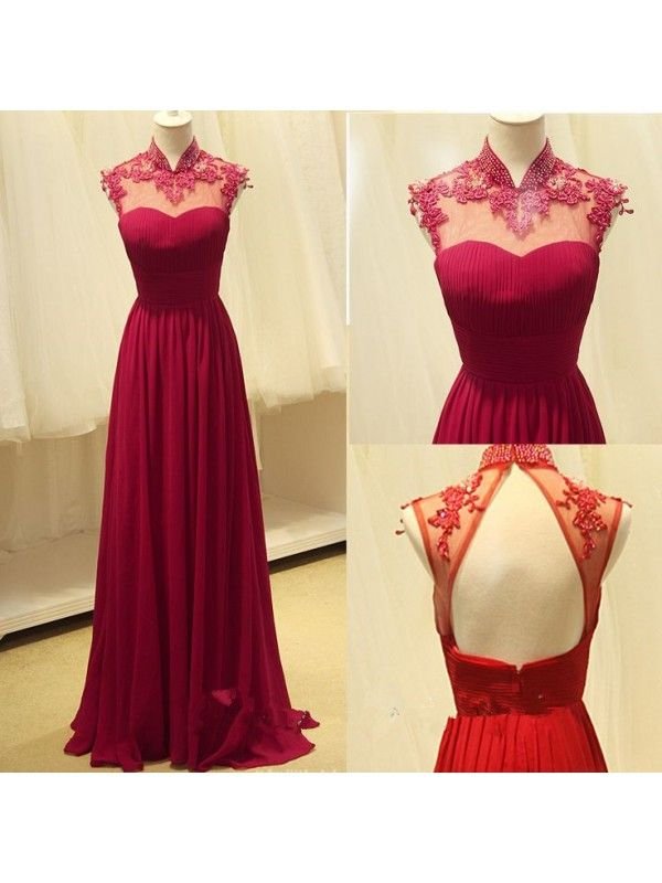 A-LINE BEADED APPLIQUES HIGH NECK PLEATED BODICE FLOOR LENGTH CHIFFON PROM  DRESSES. Open Back Prom DressesRed Lace ...