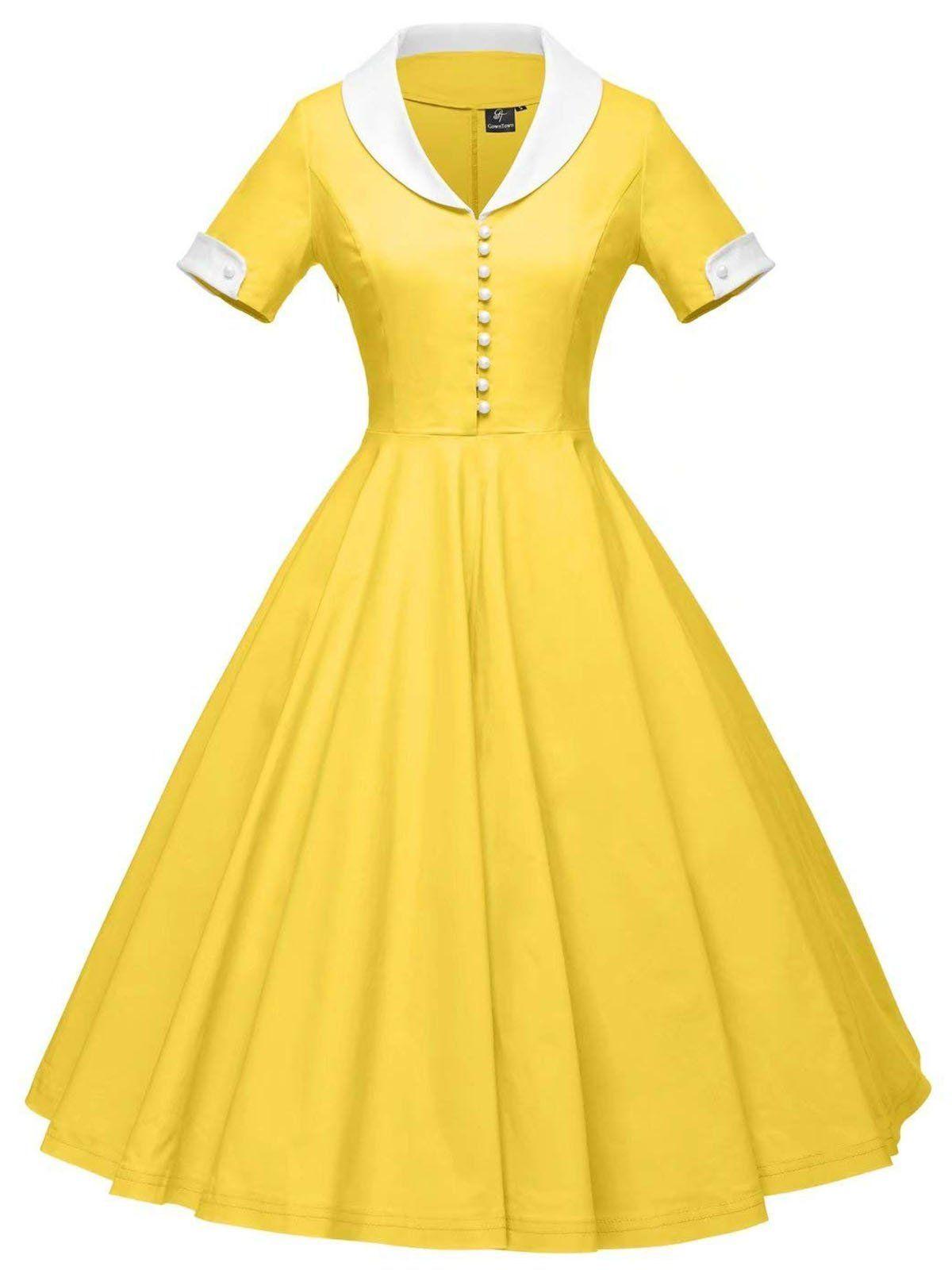 1950s Solid Turndown Collar Swing Dress Stretchy Dress Retro Dress Womens Dresses [ 1600 x 1200 Pixel ]