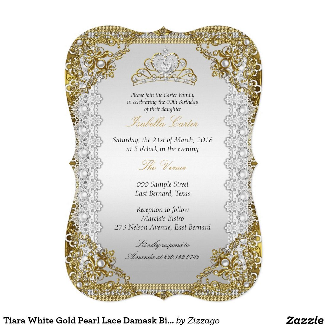 Tiara White Gold Pearl Lace Damask Birthday Party 5x7 Paper ...