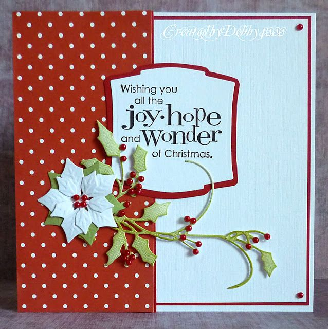 handmade Christmas card from A Scrapjourney ... beautiful use of Spellbinders poinsettia die and holly flourishes ... luv the polka dot paper ... great card!!!