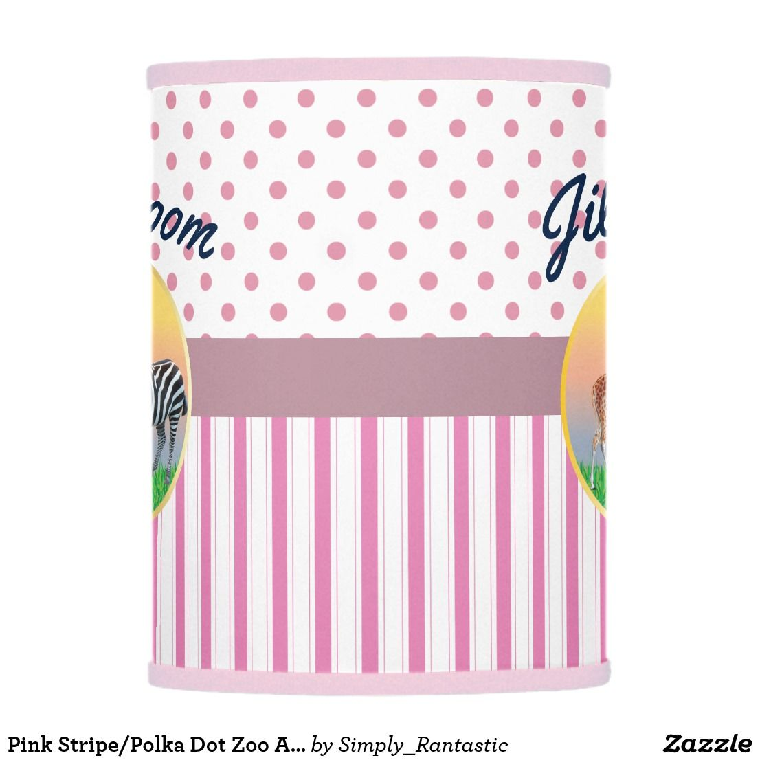 Pink Stripe Polka Dot Zoo Animal Girls Room Pink Stripes