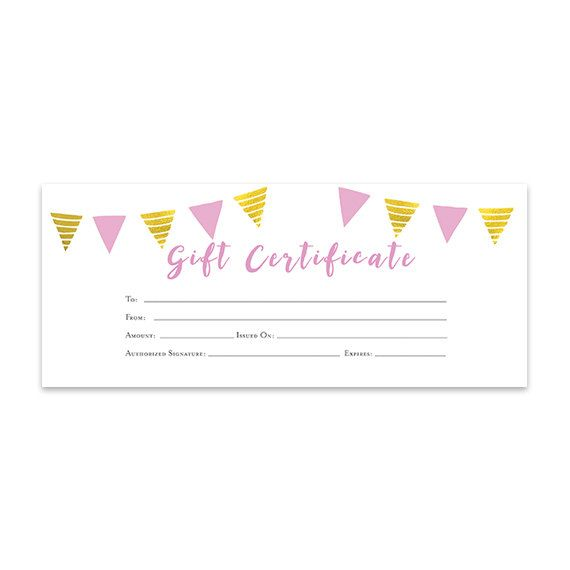 Pink Gold Banner Gift Certificate Download Premade Gift